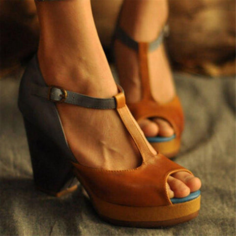 Fashion Color Matching Hollow Heel Sandals