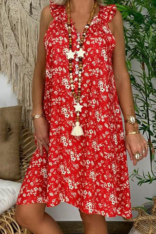 Casual V Neck Printed Colour Ruffled Sleeveless Dress
