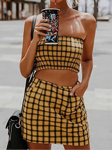 Strapless  Plaid Suits & Co-Ords