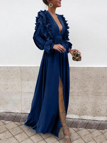 Sexy V Neck Long Sleeves Evening Maxi Dress