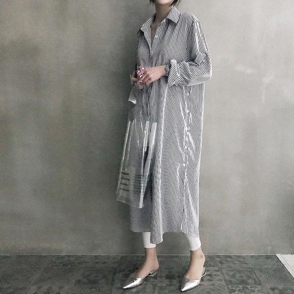 Fashion Casual Long Sleeved Striped Loose Shirt Maxi Dress