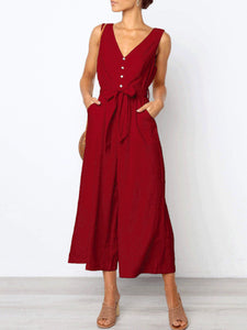Elegant V Collar Sleeveless Plain Jumpsuit With Waistband