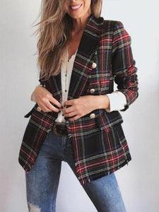 Casual Plaid Long-Sleeved Double-Sided Woolen Cardigan And Suit Jacket