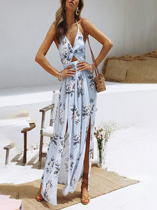 V-Neck Print Sexy Slit Beach Maxi Dress