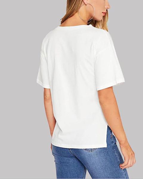 Sequined Pocket Stitching T-Shirt