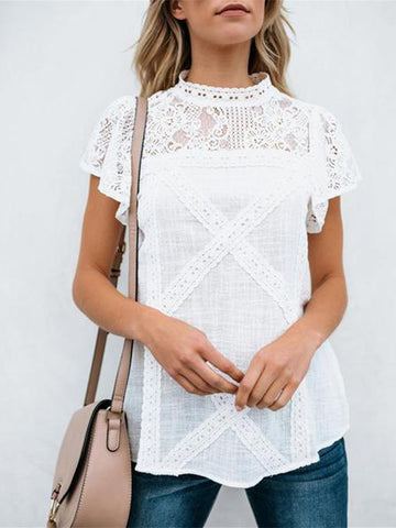 Round Neck Lace Stitching Linen T-Shirt