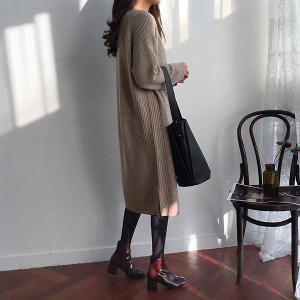Fashion V Collar Long Sleeve Flattering Knitted Maxi Dress