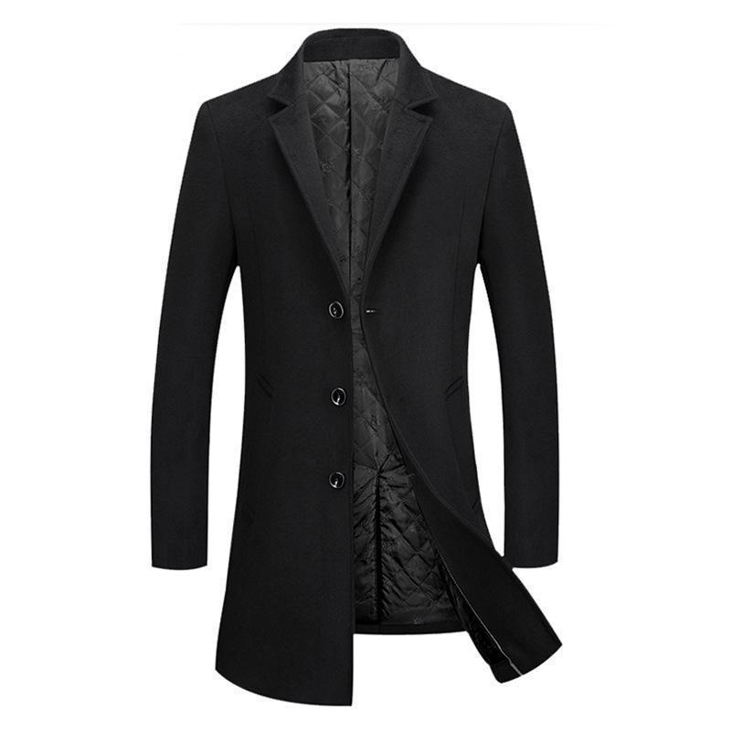 New Men's Turn-Collar Medium-And Long-Style Slim Pure Wool Overcoat