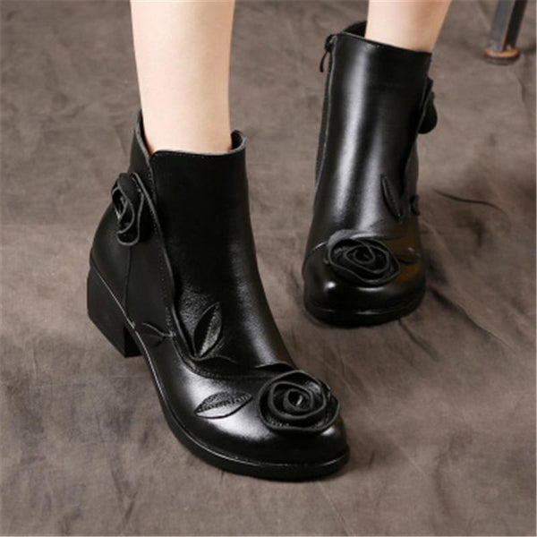 New  Leather  Handmade Vintage Ethnic Style Flower Shoes In The Medium Thick Heel Leather Boots Female Soft Bottom In The Tube Boots