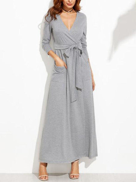 Sexy Deep V Neck Lace Up Long Sleeve Maxi Dress