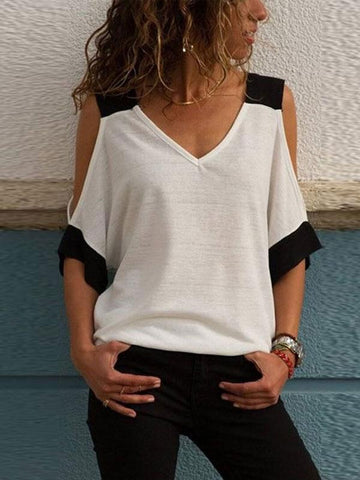 V Neck  Patchwork  Batwing Sleeve T-Shirts