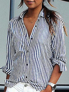 Fold-Over Collar  Single Breasted  Striped Shirts&Blouses