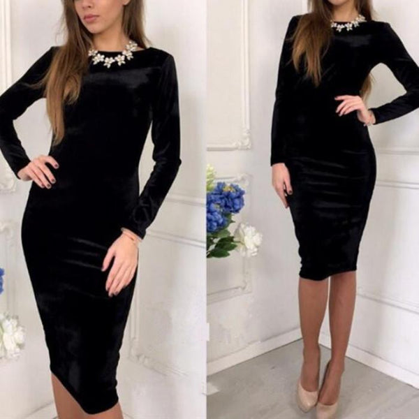 Sexy Long-Sleeved Slim Bodycon Dress