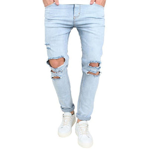 Fashion Casual Light Blue Ripped Jeans
