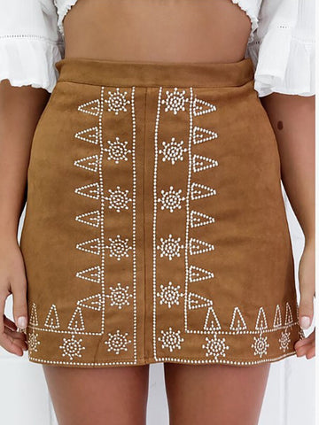 Contrast Stitching  Embroidery Mini Skirts