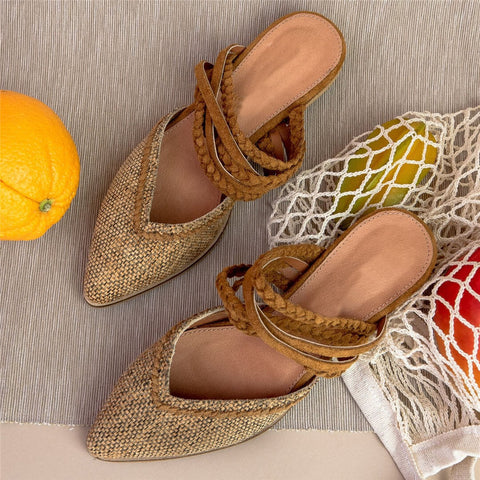 Fashion Vintage   Weave Pointed Flat Shoes
