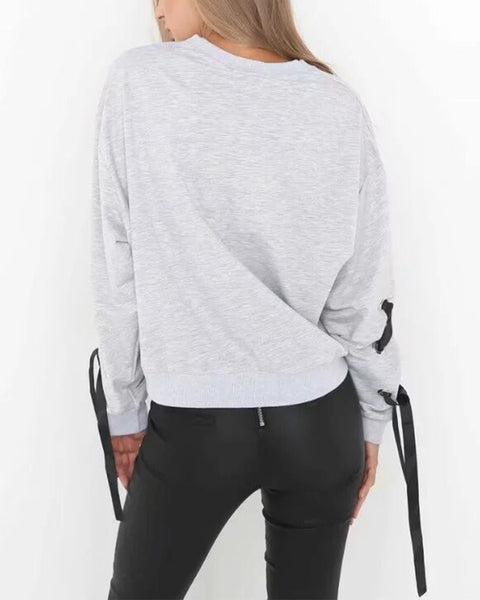 Crew Neck  Lace-Up  Plain Sweatshirts