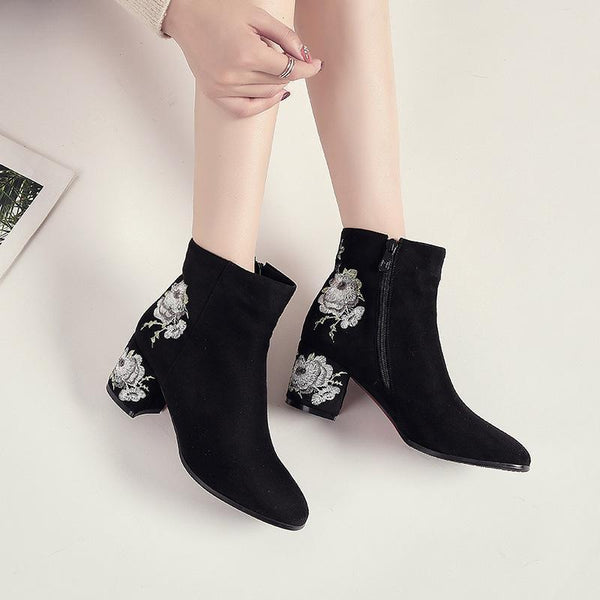 Martin boots short boots Chelsea boots national style embroidery women's shoes retro embroidered shoes thick with women's boots