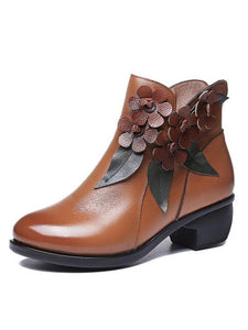 Autumn and winter new handmade ethnic style leather cotton non-slip thick with comfortable low women's boots