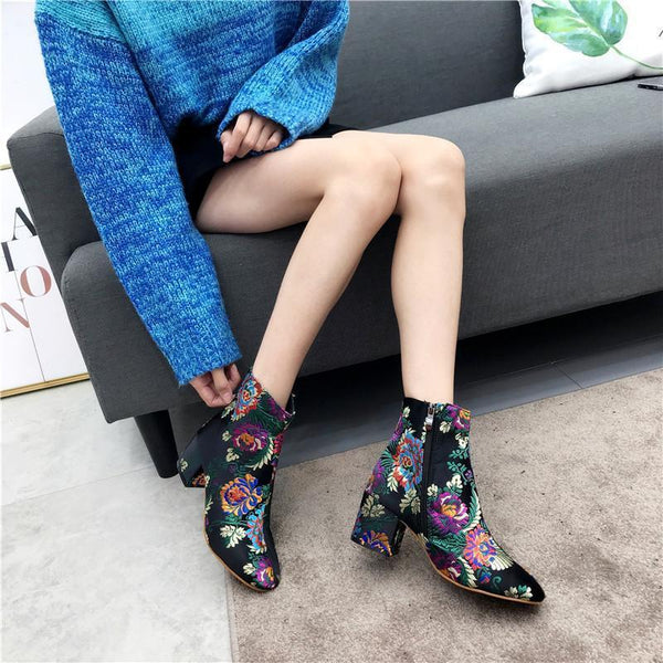 Fashion Printed Embroidered High Heel And Ankle Boots With Women's Boots