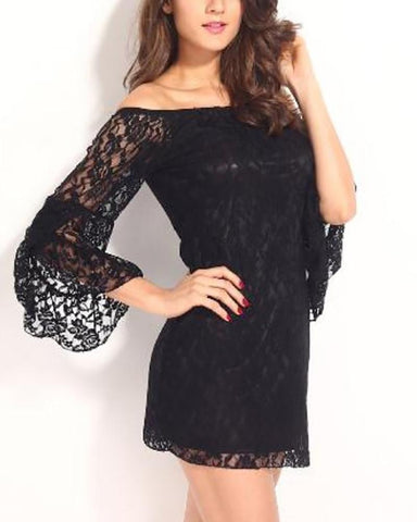 Leaking Shoulder Trumpet Sleeves Full Lace Sexy Dress