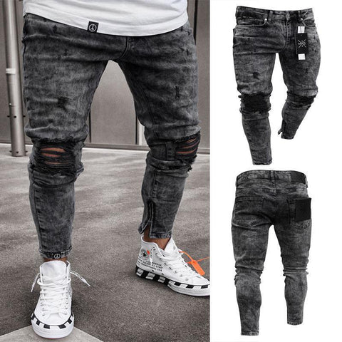 Slim-fit hole fashion black-foot zipper jeans