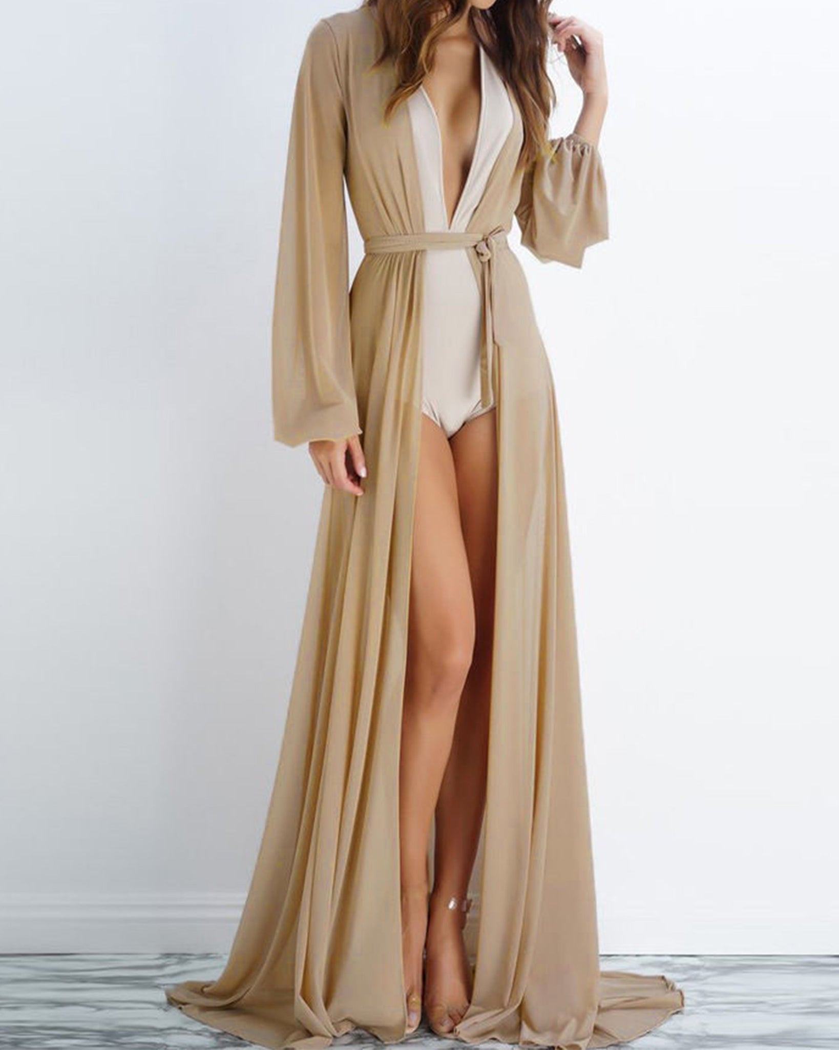 Surplice  Belt  Plain  Bishop Sleeve Kimono