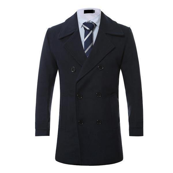 Double-Breasted Lapel Mid-Length Solid Color Slim Woolen Coat