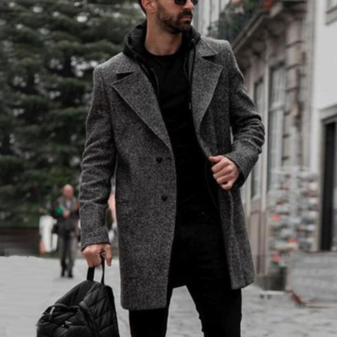 Lapel Solid Color Long Sleeve Wool Coat