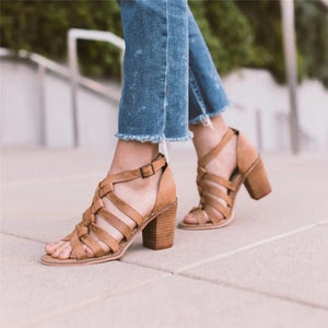 Plus Size Women Multi-Strap Heeled Sandals