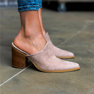 Comfortable Faux Leather Muller Heels