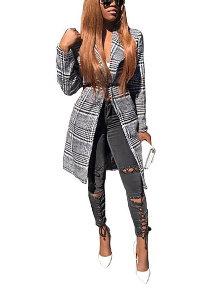 Fold-Over Collar  Patchwork  Contrast Stitching  Plaid Blazers