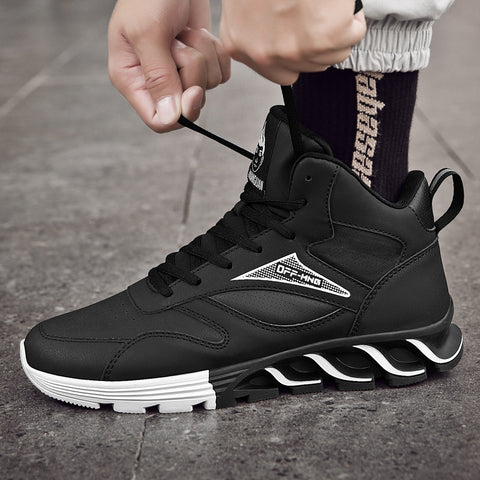 Cool blade leather non-slip high-top sports shoes