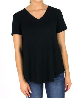 Grace and Lace Perfect V-Neck Tee - Black