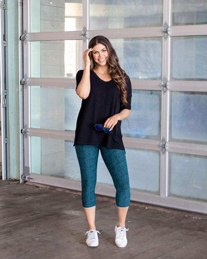 Grace and Lace | RePurposed Live-in Leggings | TEXTURED TEAL SHORT LENGTH