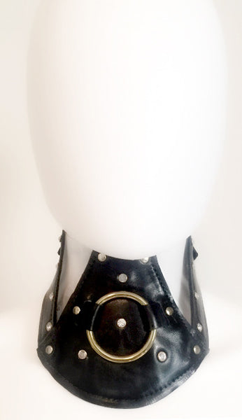 Over Sized Lock Buckle Collar-Leather & Clear PVC