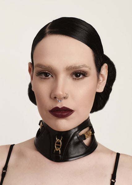 Women Leather Collar, Fetish leather collar