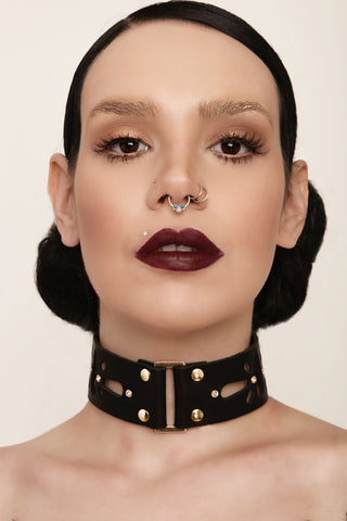 leather choker, leather collar, leather accessories