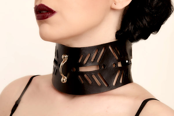 post fetish leather collar, women leather collar
