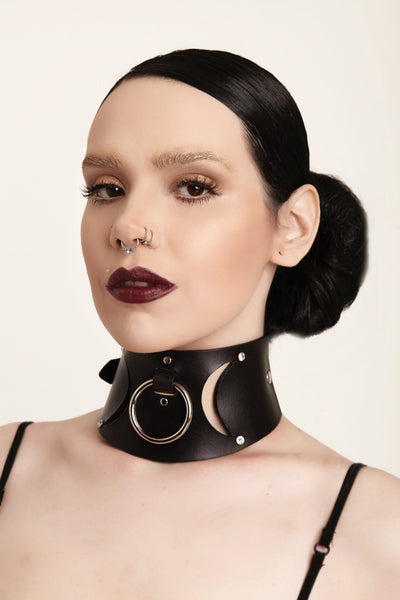Triple Goddess Leather Collar