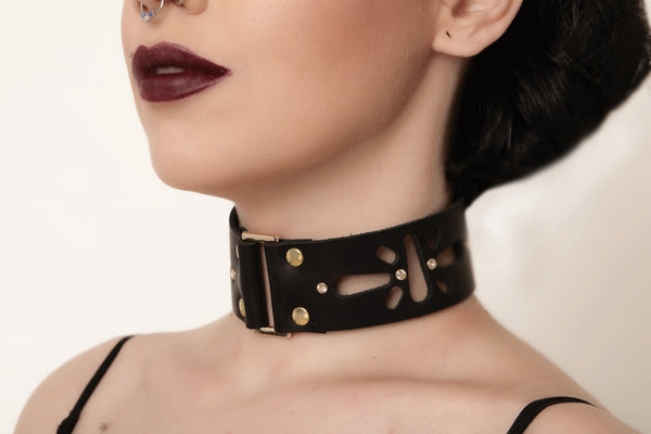 leather choker, Women leather collar, leather accessories