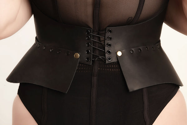 Leather Corset Belt with Cut-Out Pattern