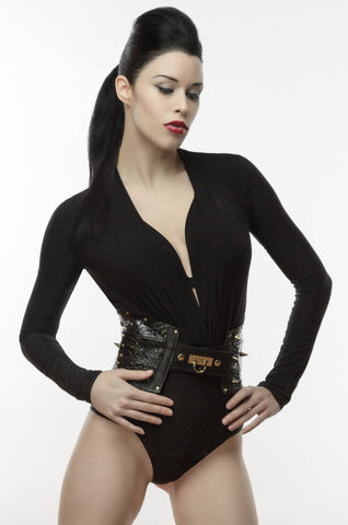 Embossed Leather Corset Belt