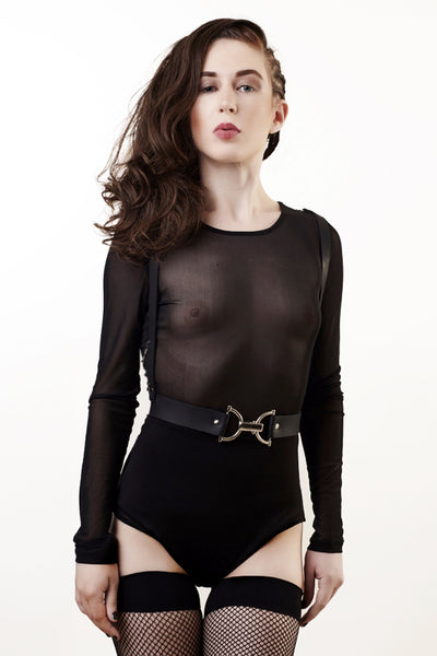 Cut-Out Leather Harness Vest