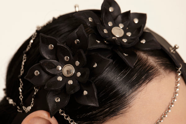 Leather headpiece- Leather Floral headdress