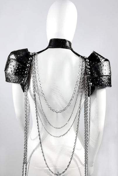 Leather Shoulder Armor with Chains