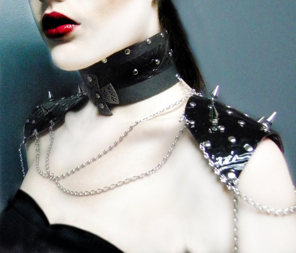 Leather Collar With Spiked Shoulder Armor
