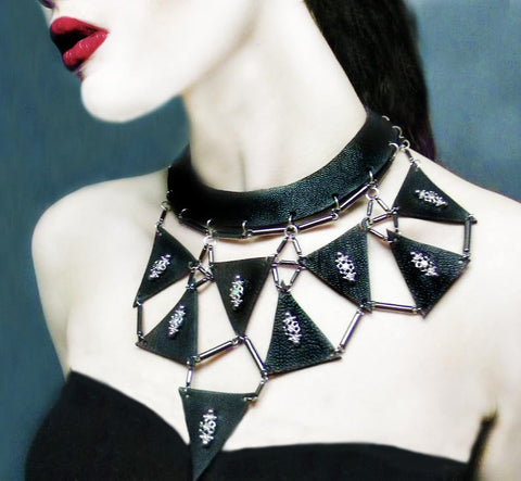 Leather Triangle Choker Necklace