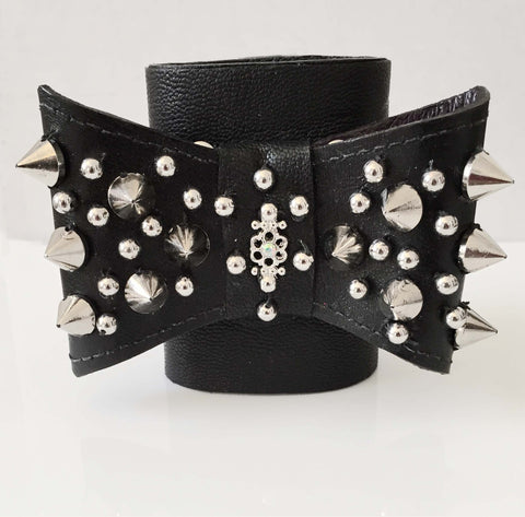 Leather Bow Cuff with Spikes