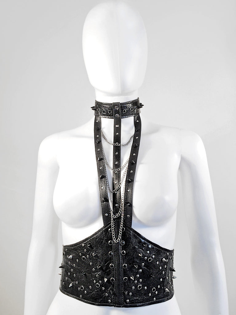 Spiked Leather Harness with Chains